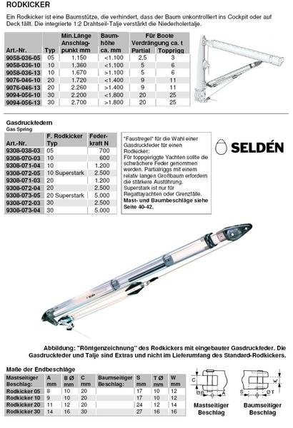 Selden gas spring for Rodkicker Type 05