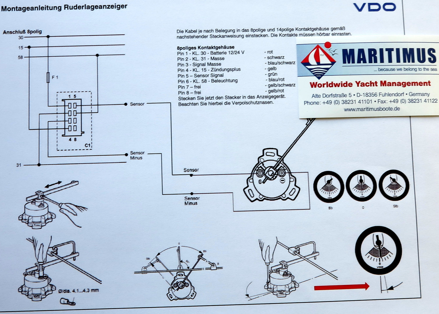 Maritimus_VDO_Viewline_Ruderlagenanzeiger_7 vdo rudder angle indicator viewline 85mm, fully ad, fasteners vdo hour meter viewline wiring diagram at panicattacktreatment.co