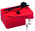 Fuel tank 10 liter L/B/H33x25x17,5, extremely flat, top carry handle, fuel filter inside