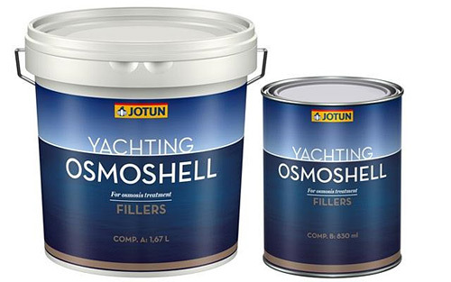 Jotun Osmoshell is a two-pack solventless epoxy coating reinforced with  glass flakes, 2,5kg