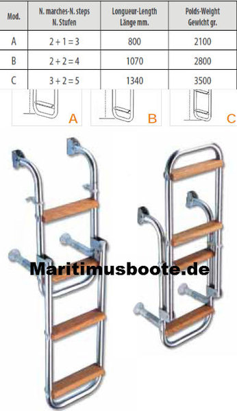 Stainless Steel Aisi 316 S0928004 Boarding Ladder With Varnished Wooden Steps 4 Steps