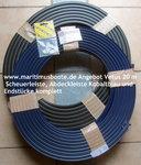 20 m Vetus Vinyl skirting board Poly3026 Black or withe, with cover strips blue or red