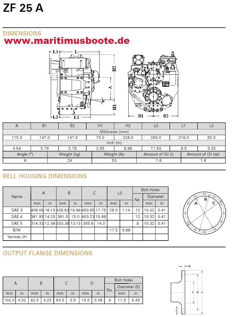 Zf Reversing Gear Zf25a Hydraulic Reduction 193 Maritimus The Ht6 A C Compressor Wiring Diagram