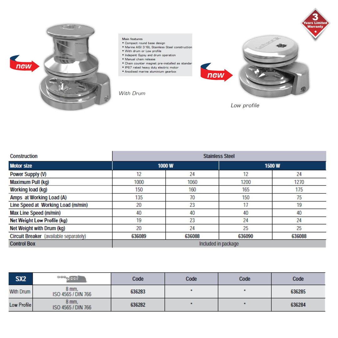 Lofrans WINDLASS V  SX2 INOX ROUND G+D 1000W/12V 8-5/16