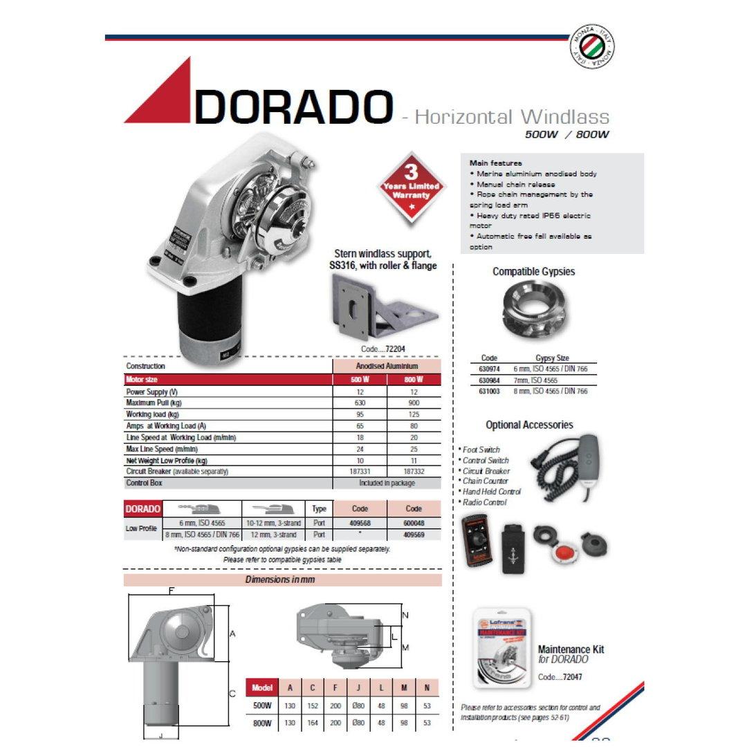 Lofrans Dorado WINDLASS H  DOR  ALU R  500W/12V 6-3/16