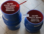 HALYARD H022487, Custom made Bellows 254mm ID x 500mm Long